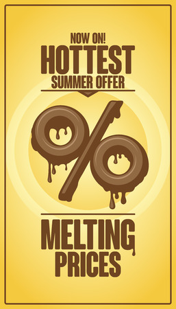 Hottest summer offer, melting prices vector design