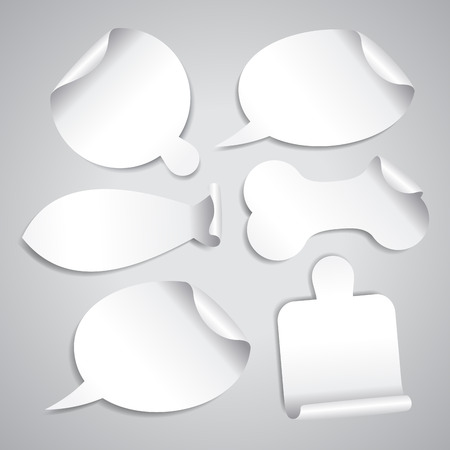 price tag: Empty white stickers set with board for pizza, cutting board, bone for pet, fish silhouette and speech bubbles