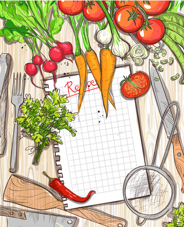 Empty recipe list with place for text with healthy organic vegetables and kitchen utensil on a wooden table background  Ilustração