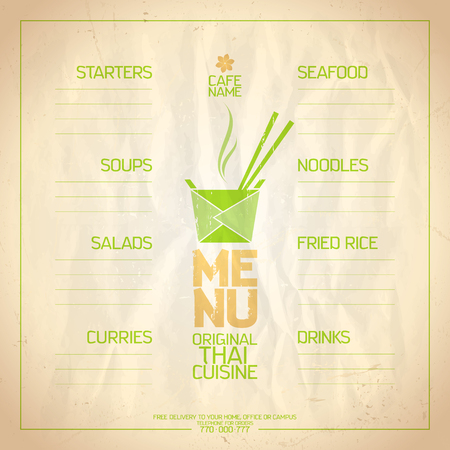 thai noodle: Thai food menu list with place for dishes name.
