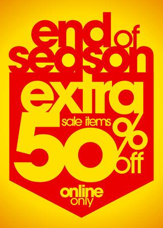 estaciones del año: Fin de la temporada de venta adicional de descuento 50% de descuento. Vectores