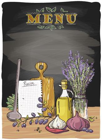 Landelijk bord menu grafisch ontwerp met groenten, keuken gebruiksvoorwerp en boeket van lavendel, eps10 Stockfoto - 41669526
