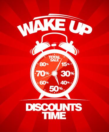 alarm clock: Discounts time. Red sale design with alarm clock.