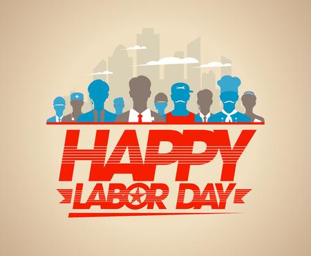 Gelukkige arbeidsdag kaart met silhouetten van verschillende werknemers. Stock Illustratie