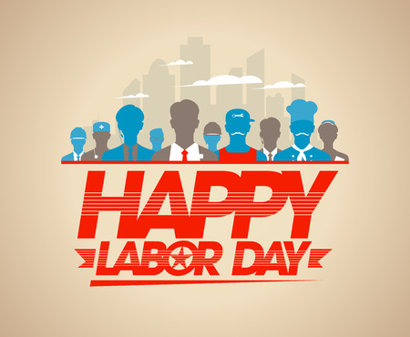 labour: Happy labor day card with silhouettes of different workers.