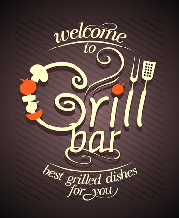 Grill bar card design, vintage style.