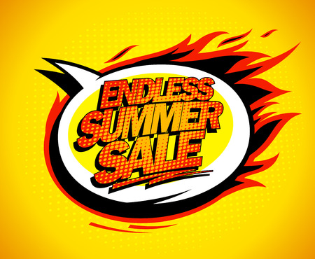 summer sale: Endless summer sale pop-art speech bubble.