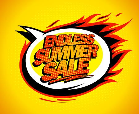 end: Endless summer sale pop-art speech bubble.
