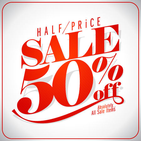 half price: Half price sale design.