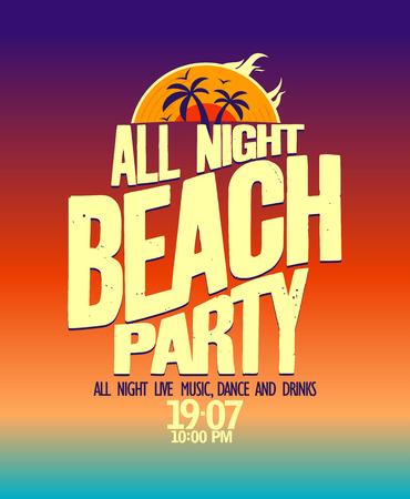 beach: Tutti festa bandiera spiaggia di notte. Vettoriali