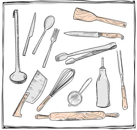 drainer: Hand drawn set of kitchen utensils graphic symbols. Eps10