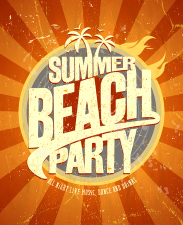 Summer beach party hot retro style poster. Eps10 Vettoriali