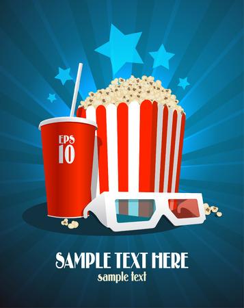 palomitas: Cine plantilla de diseño con caja de palomitas de maíz, refrescos de cola y gafas 3D.