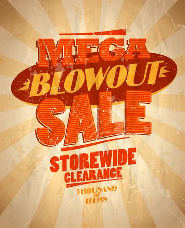 blowout: Mega blowout sale design in retro style. Eps10