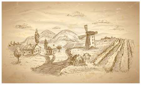 dutch landmark: Rural landscape hand drawn illustration with windmill and vineyard.  Illustration