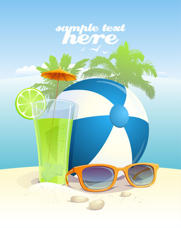 frutas divertidas: Fondo con gafas de sol, pelota y cóctel en una playa con el lugar de texto.