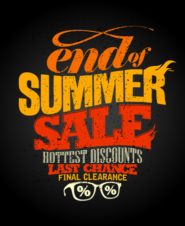 End of summer sale design, final clearance. Vectores