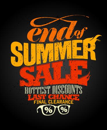 ropa de verano: Fin de diseño de venta de verano, la autorización final. Vectores