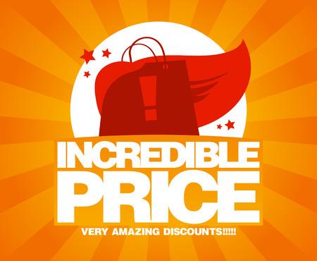 incredible: Incredible price, sale design template with shopping bag as a superhero.