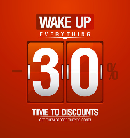 Time to discounts -30% sale coupon in shape of red analog flip clock.
