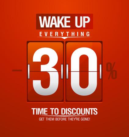 Tijd om kortingen -30% verkoop coupon in de vorm van rode analoge flip klok.