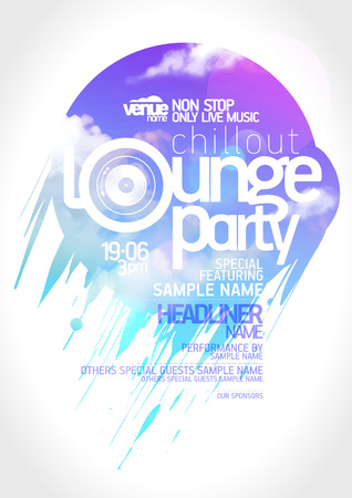 dj: Art lounge party poster design. Illustration