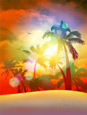 Beautiful sunset over the sand beach with a view at palms, eps10 vector illustration Vettoriali