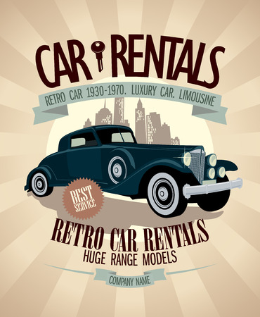 driving range: 1930th - 1970th retro car rentals design with vintage car.