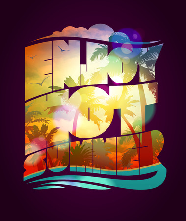 water animal bird card  poster: Enjoy hot summer text design, happy vacation card with with sunset tropical backdrop silhouette, eps10