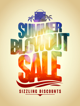 Summer blowout sale text design with tropical backdrop silhouette Vectores