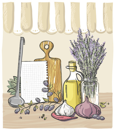 kitchen utensil: Hand drawn rural graphic still life design with vegetables, kitchen utensil, bouquet of lavender and bottle of olive oil with olives branch, empty paper list with place for text, eps 10
