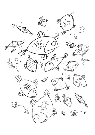 illustraition: illustraition of cartoon fishes, hand drawn design set. Illustration