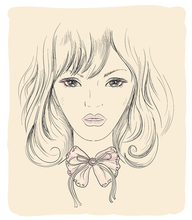 hair bow: Fashion graphic portrait of a young model woman with bow on her neck