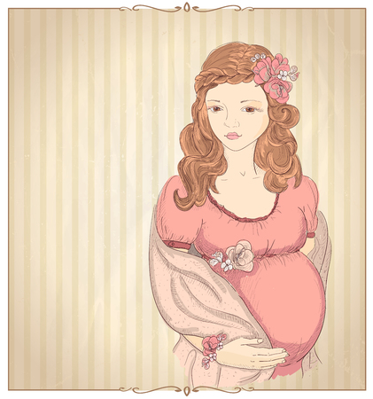 pregnant mom: Vintage style graphic portrait of a pregnant woman in pink on a beige backdrop with place for text