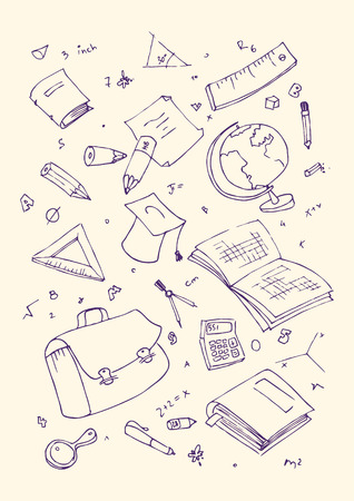 illustraition: Vector illustraition of school subjects, hand drawn design set.