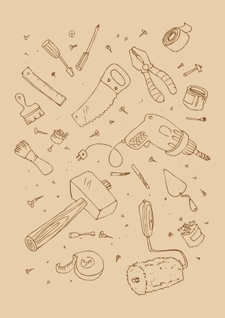 illustraition: Vector illustraition of tools, hand drawn design set.