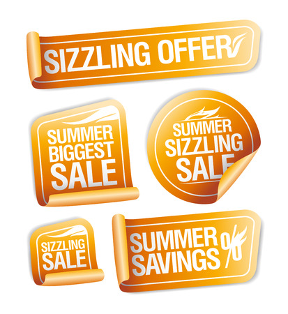Summer sizzling offers, savings and sale stickers set