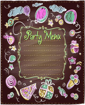 funny birthday: Chalkboard party menu list for kids.