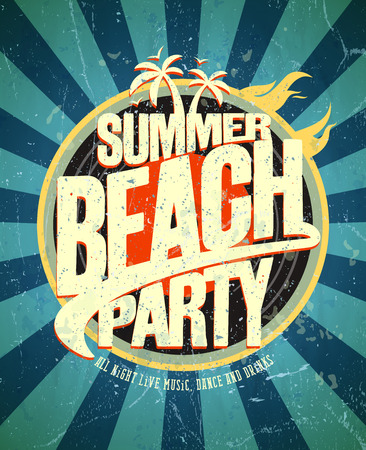 hot summer: Summer beach party grunge poster. Eps10 Illustration