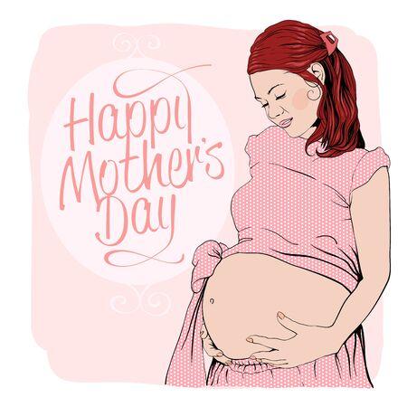 Graphic Porträt einer schwangeren Frau. Glückliche Mutter-Tageskarte.