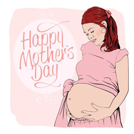 caucasians: Graphic portrait of a pregnant woman. Happy mothers day card. Illustration