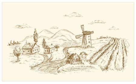 Rural landscape graphic hand drawn illustration.