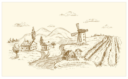 Rural landscape graphic hand drawn illustration.