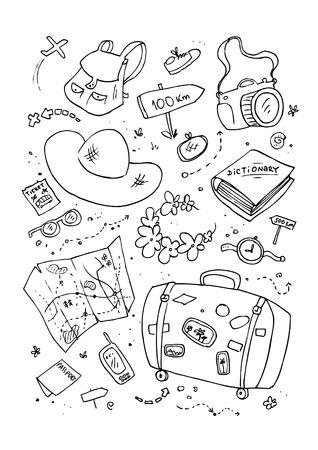 ink sketch: Cartoon beach symbols, hand drawn design template.