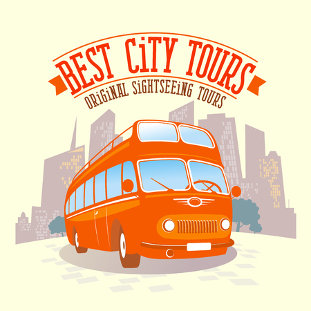 best background: Best city tours design with double-decker bus against city background.
