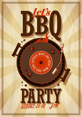 Affiche du Barbecue de parti. Eps10 Banque d'images - 42907573