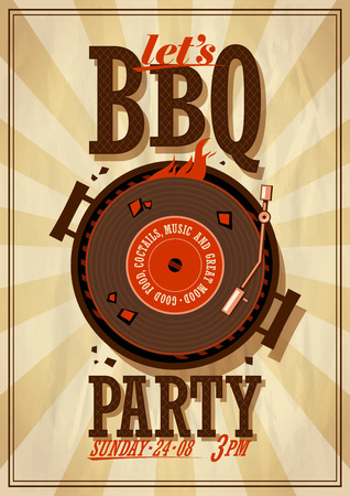 Barbecue partij poster. Eps10 Stock Illustratie