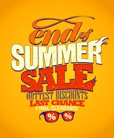 end: End of summer sale, last chance design. Illustration