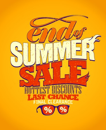End of summer sale, last chance design. Vectores