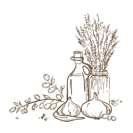 Graphic illustration of olive branch and a bottle of olive oil with vegetables.